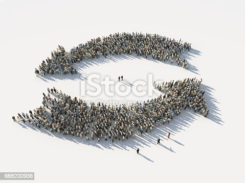 istock crowd of people as the two opposite arrows 688200936