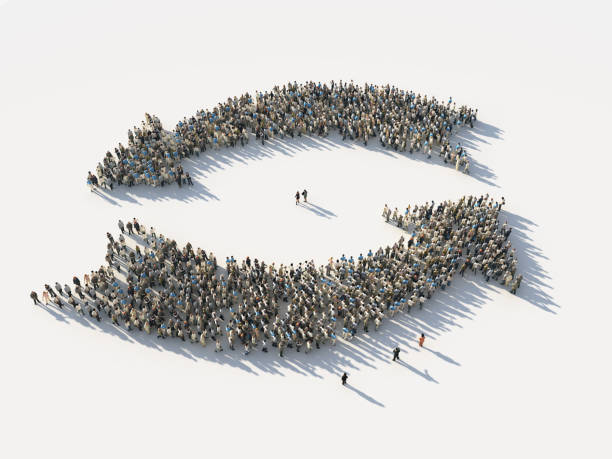 crowd of people as the two opposite arrows - cyclic stock pictures, royalty-free photos & images