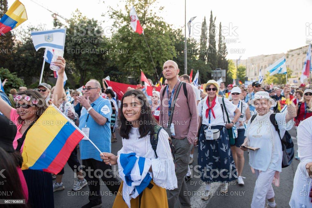 Crowd of people at a celebration in Jerusalem stock photo