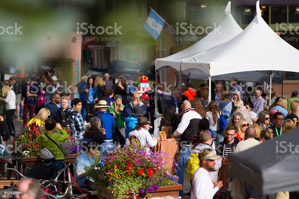 Crowd of people at an outdoor festival stock photo