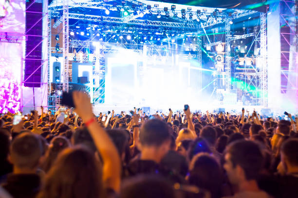 crowd of people at concert or show stock photo