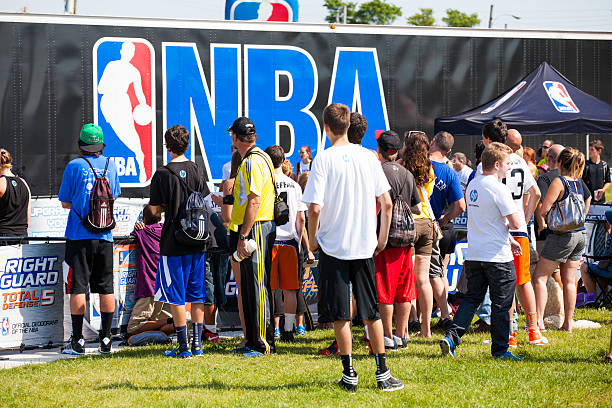 Crowd of People at the NBA 3X stock photo