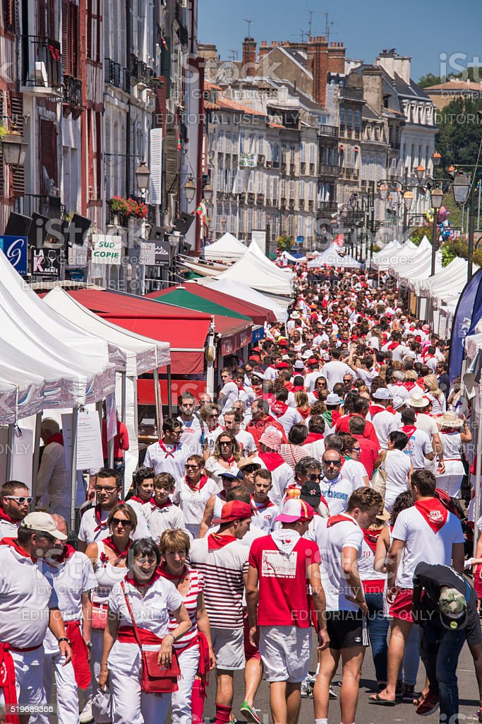 Crowd of people at the Summer festival in Bayonne stock photo
