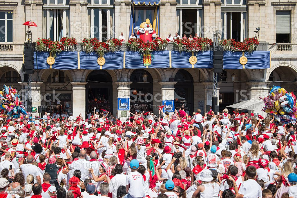Crowd of people at the Summer festival (Fetes de Bayonne) stock photo