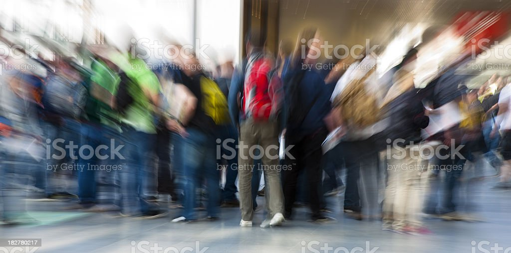 Crowd of People, Blurred Motion and Zoom Blur royalty-free stock photo