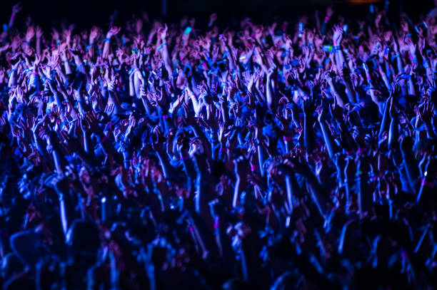 Crowd of people cheering at a music festival at night stock photo