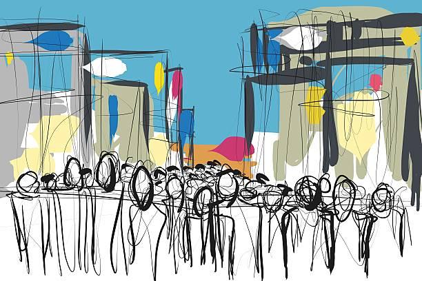folla di persone doodle schizzo - fumetto creazione artistica foto e immagini stock