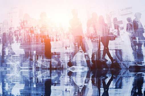 istock crowd of people double exposure, business background 878863296