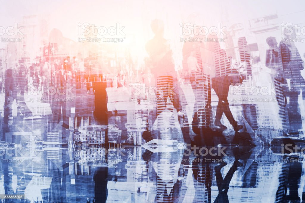 crowd of people double exposure, business background stock photo