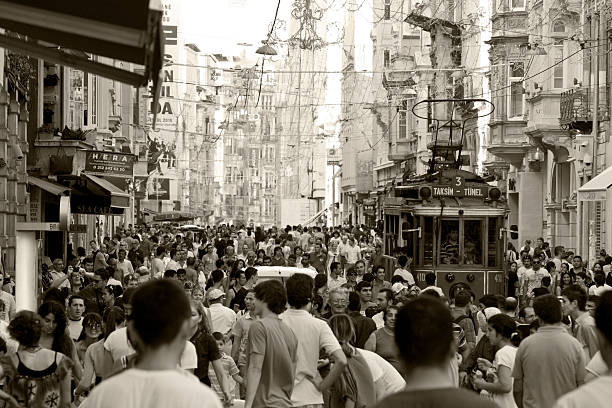 crowd of people in istanbul - istiklal avenue bildbanksfoton och bilder