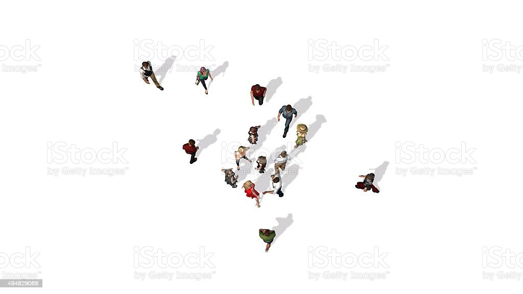 crowd of people in top-view isolated on white background stock photo