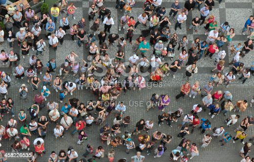istock Crowd of people looking up 458226535