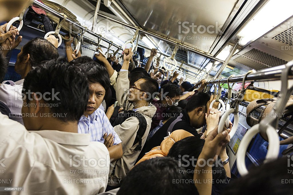 Crowd of People on a Train in Jakarta, Indonesia royalty-free stock photo