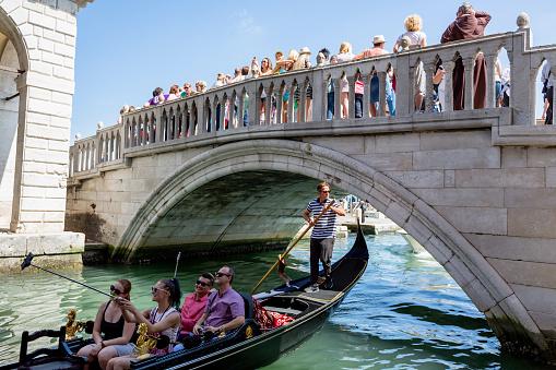 Crowd of people on Riva degli Schiavoni in Venice