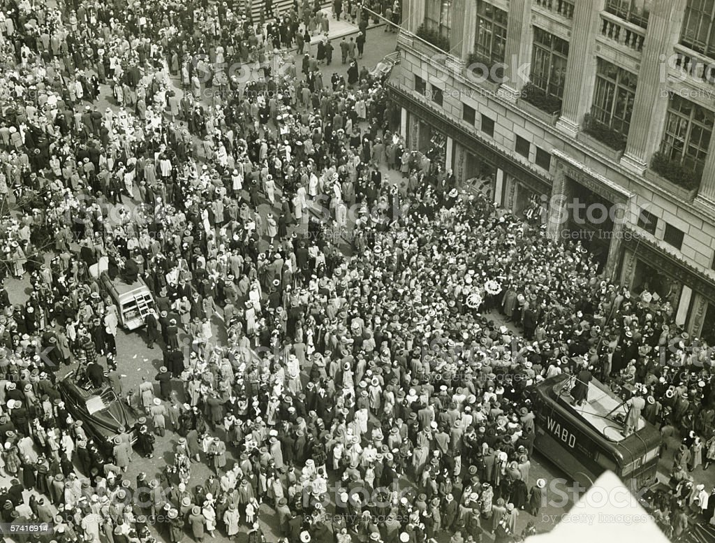 Crowd of people on street, news media broadcasting, (B&W), (Aerial view) stock photo