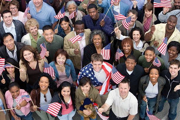 crowd of people - happy 4th of july stok fotoğraflar ve resimler