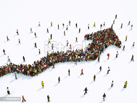 Multitude of people united to form an arrow. 3D Rendering