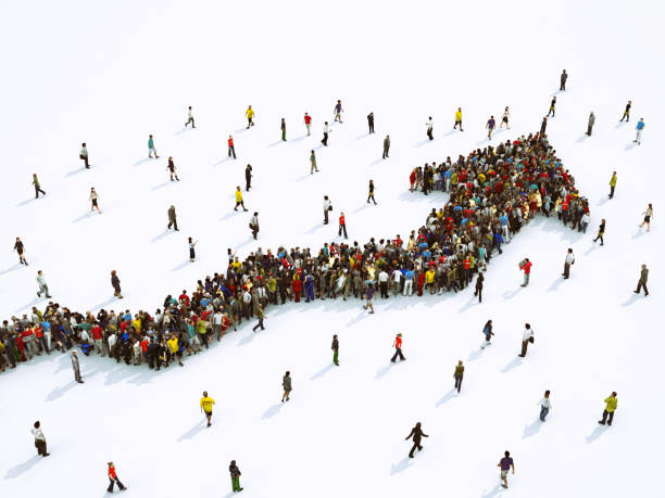 Crowd of people united forming a growing arrow. 3D Rendering - foto stock