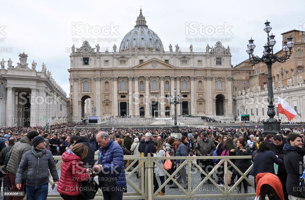 Crowd of people waiting for Pope Francis I in Vatican stock photo