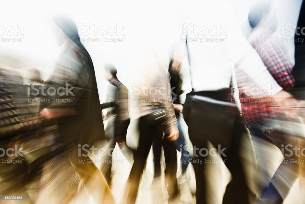 Crowd of People Walking at Rush Hour, Blurred Motion royalty-free stock photo