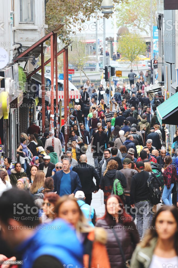 Crowd of people walking in the Kadikoy district of Istanbul city, Turkey stock photo