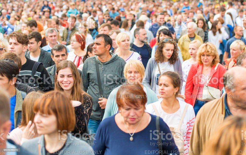 Crowd of people walking on Khreshchatyk street stock photo