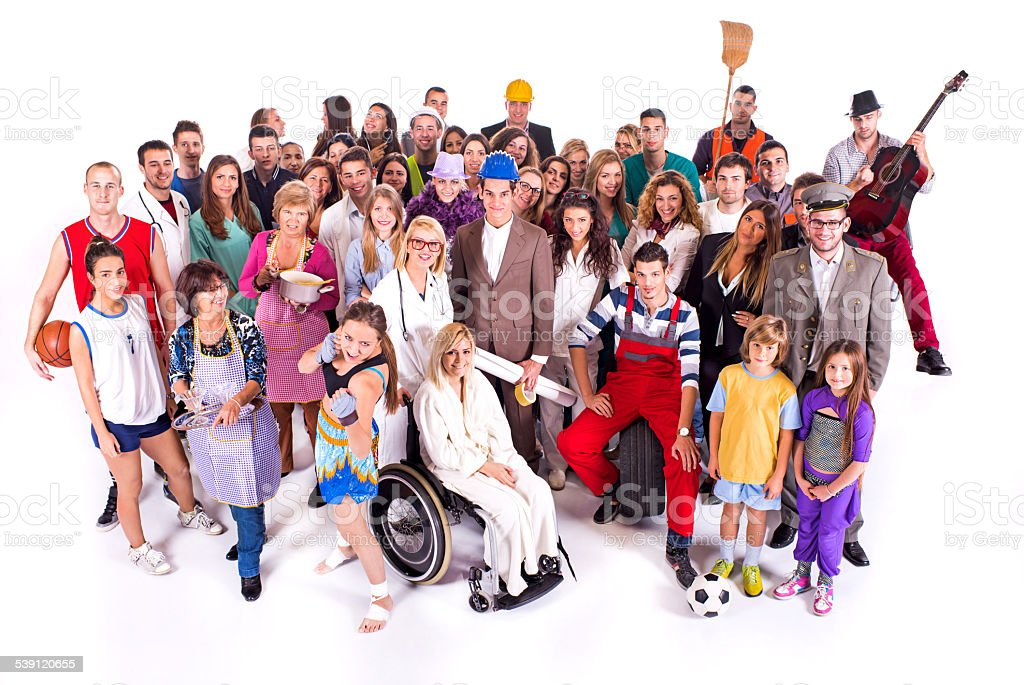 Crowd of people with different occupations. stock photo