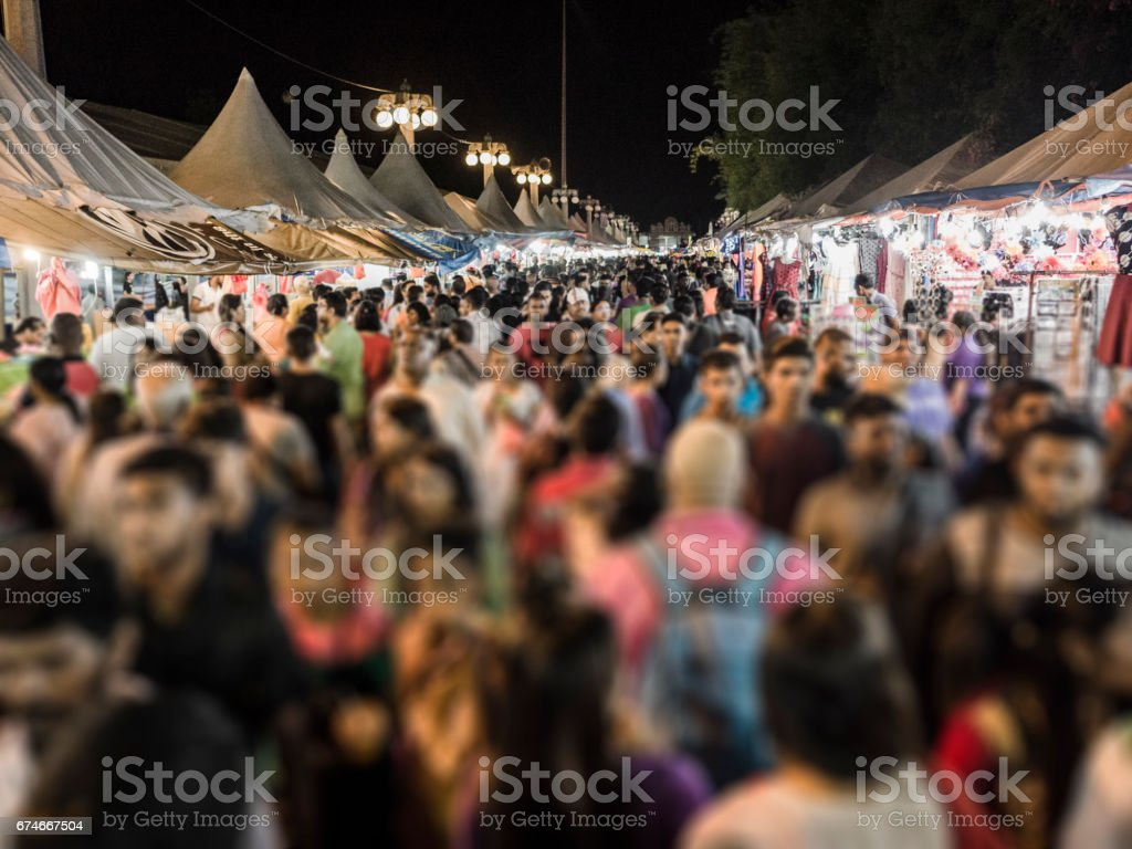 Crowd of pilgrims at night during the Thaipusam festival Malaysia stock photo