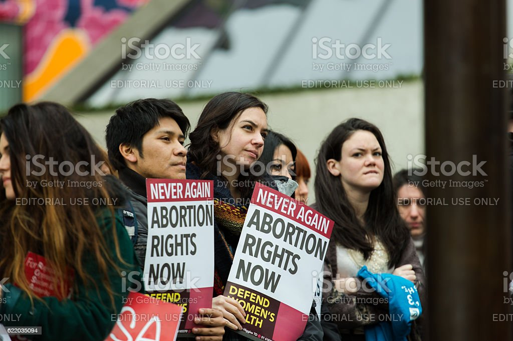 Crowd of pro-abortion protesters in the streets of Dublin stock photo