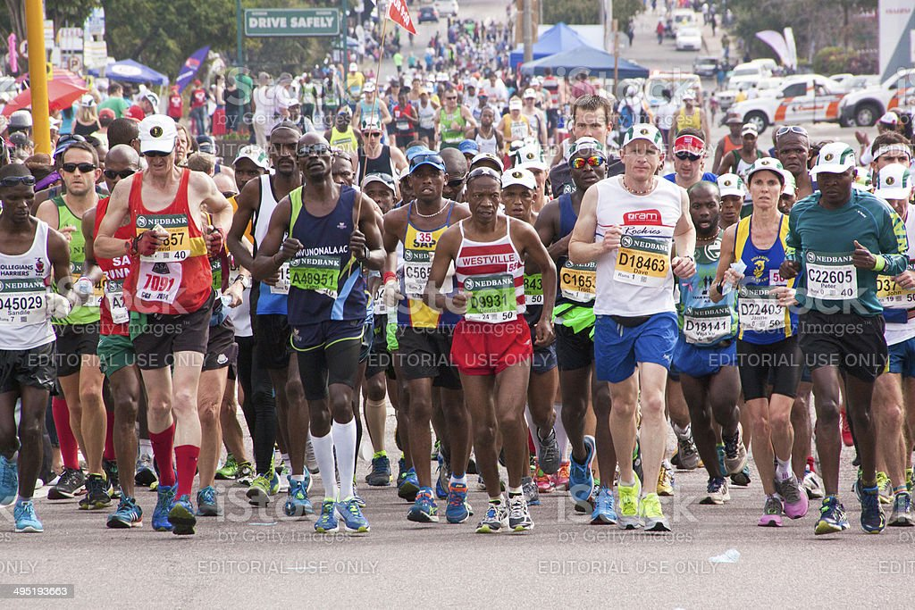 Crowd of Runners Participating in Comrades Marathon stock photo