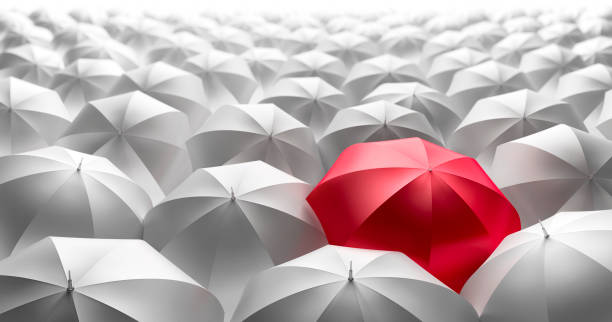 35 Red Umbrella Outstanding From The Others Uniqueness Stock Photos,  Pictures & Royalty-Free Images - iStock