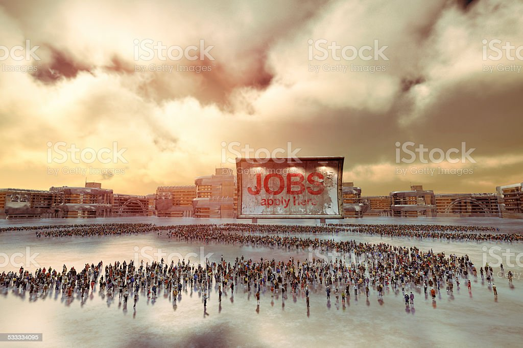 Crowd of unemployed people looking for a job stock photo