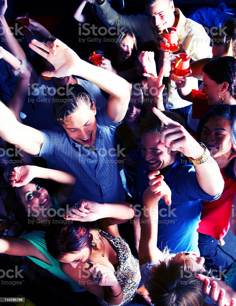 Crowd of young people dancing royalty-free stock photo