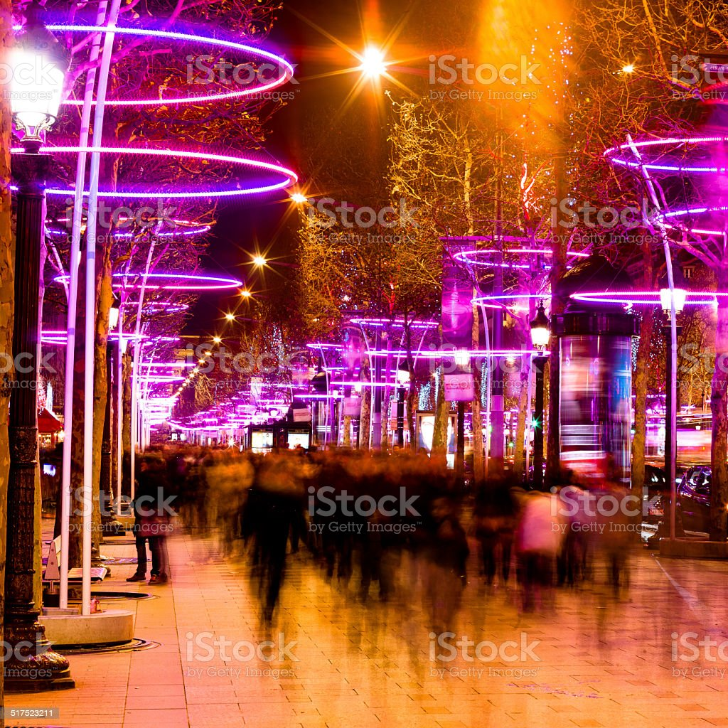 Crowd on Champs Elysees at Christmas stock photo