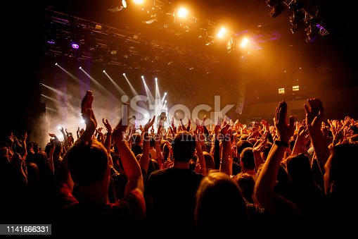 Crowd on music show, happy people with raised hands. Orange stage light