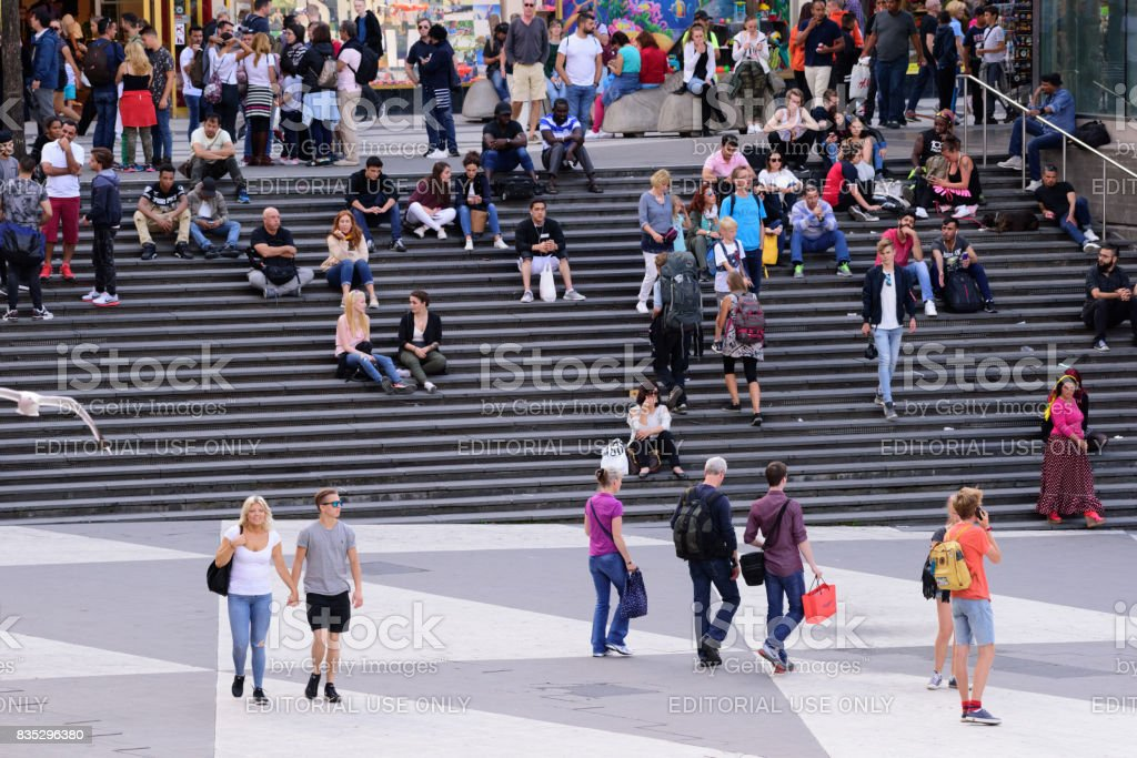 Crowd on Sergels torg stairs, famous landmark and meeting point stock photo
