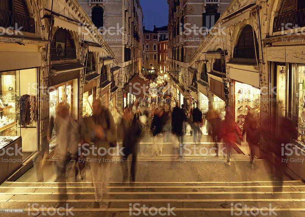 crowd on the Rialto Bridge, Venice royalty-free stock photo
