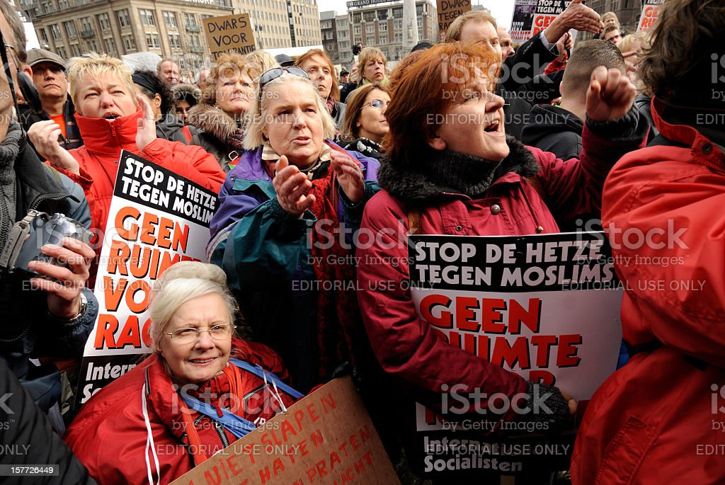 Crowd participating in an anti-racism protest stock photo