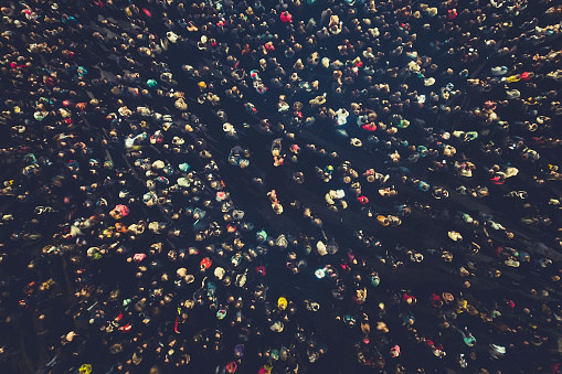 Crowd People Background An Aerial Shot Of The People Gathered For An Event Crowed Openair Meeting People Shot From A Height A Mass People Gathered To Celebrate An Event Openair Night Festival Stock Photo - Download Image Now