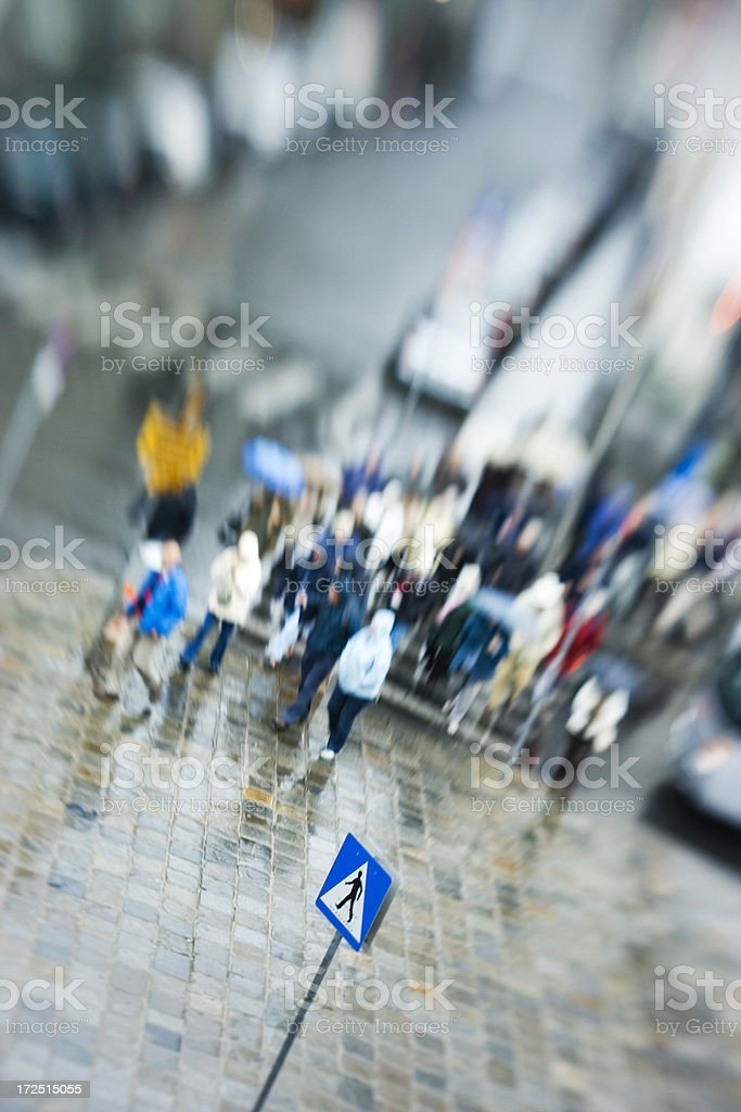 Crowd of people crossing street on rainy day