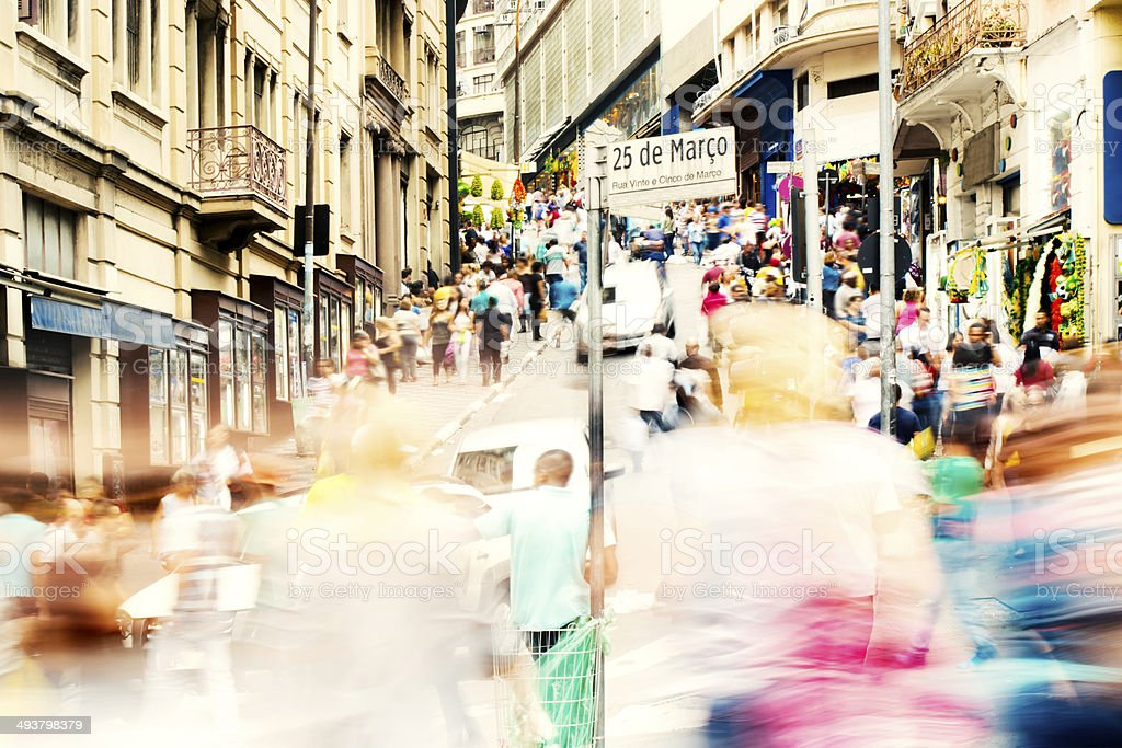 Crowd on a street at Sao Paulo city\'s downtown