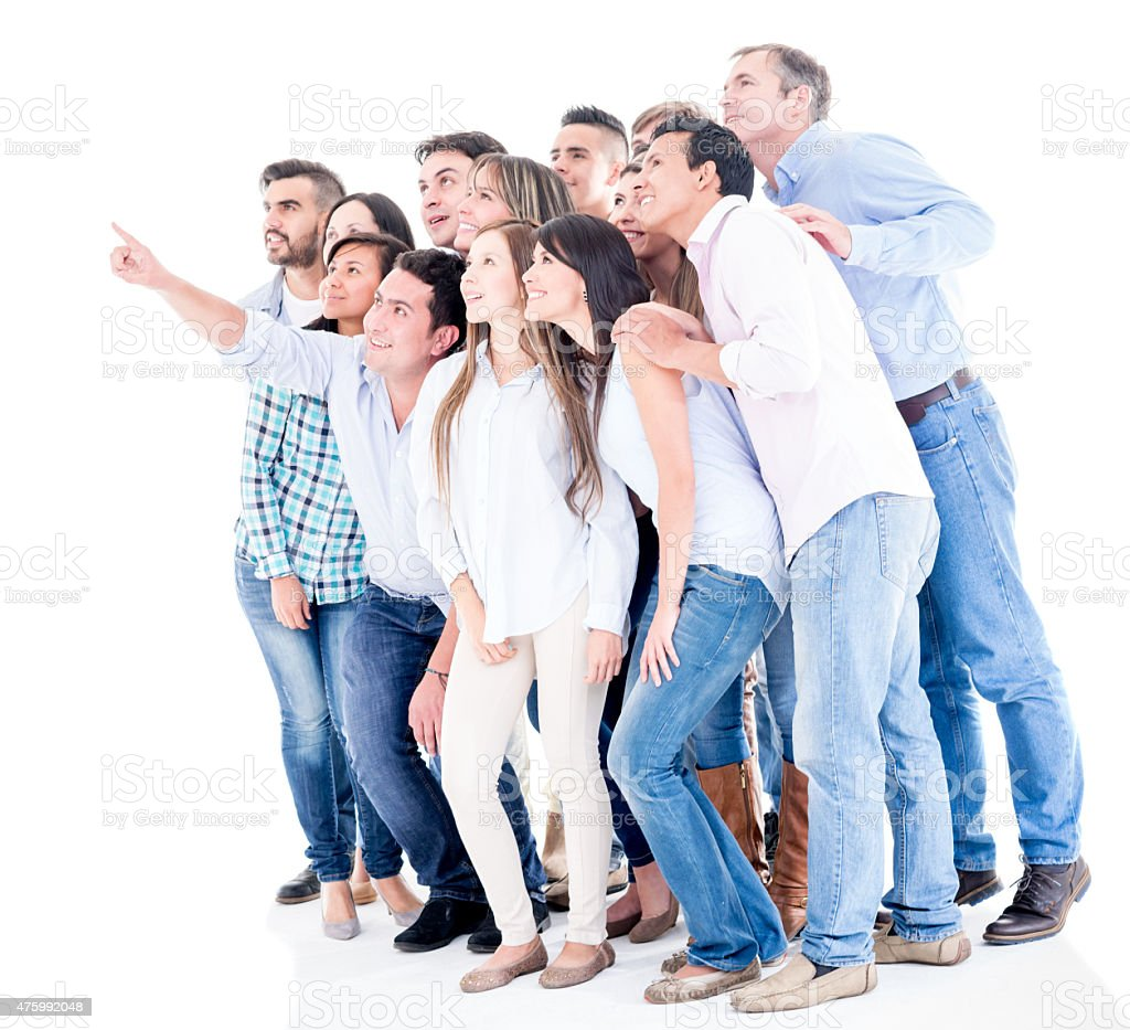 Crowd pointing away looking at something stock photo