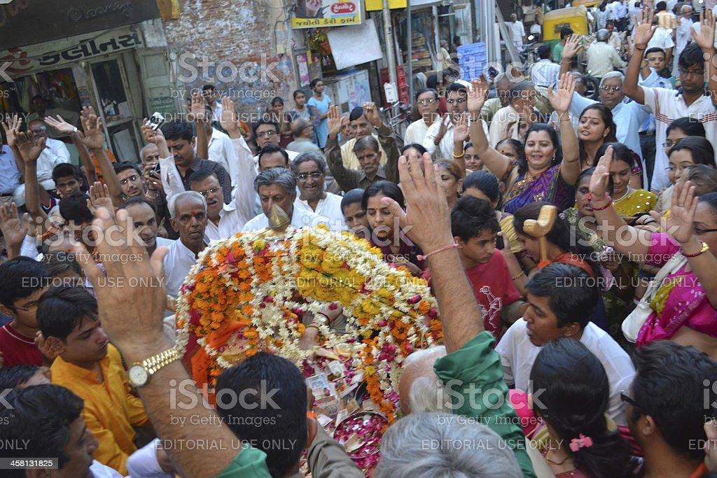 Crowd praising Lord Shiva Hatkeshwar on day of incarnation royalty-free stock photo