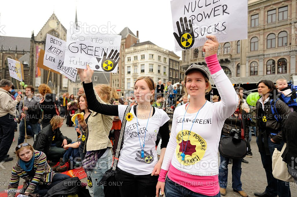 Crowd protesting against nuclear energy, Dam Square, Amsterdam royalty-free stock photo