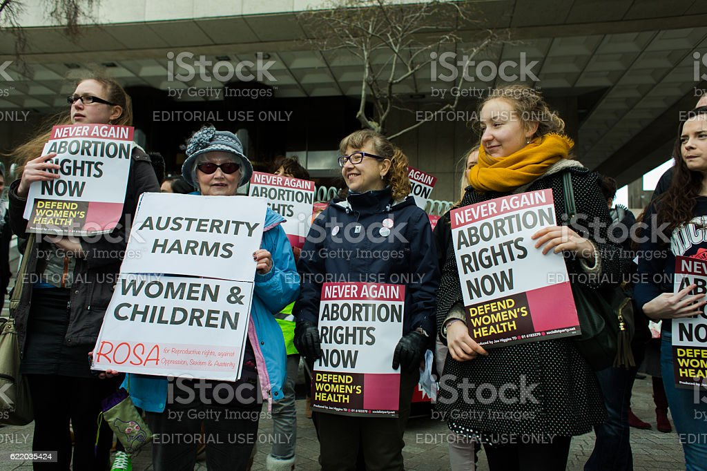 Crowd Protests Anti-Abortion Law stock photo