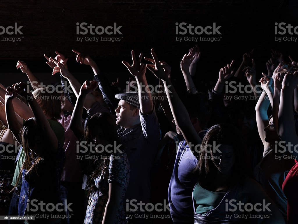 Crowd raising arms at party in night club royalty free stockfoto