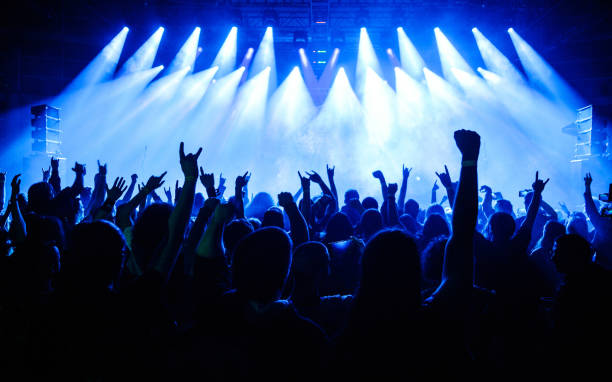 crowd raising hands in the air on concert - popular music concert stock photos and pictures