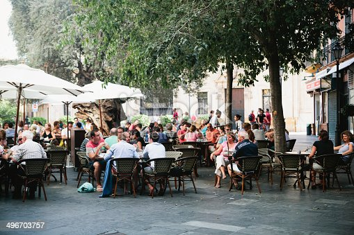 istock Crowd seated outside restaurant in Palma, Majorca 496703757