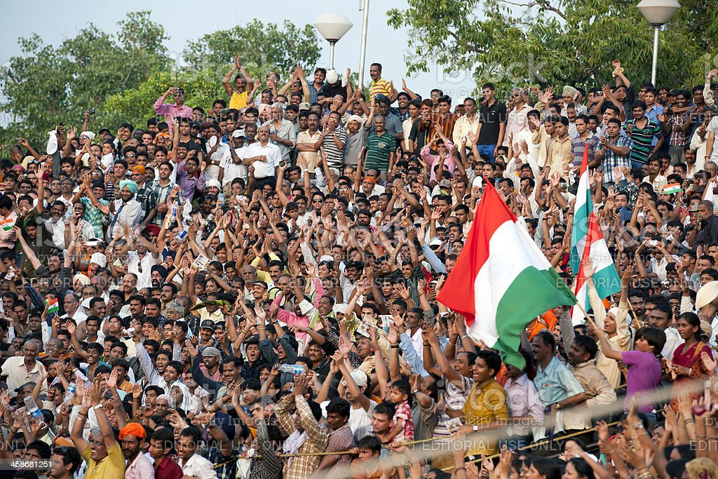 Crowd Shouting during Flag Ceremony Pakistani Border royalty-free stock photo