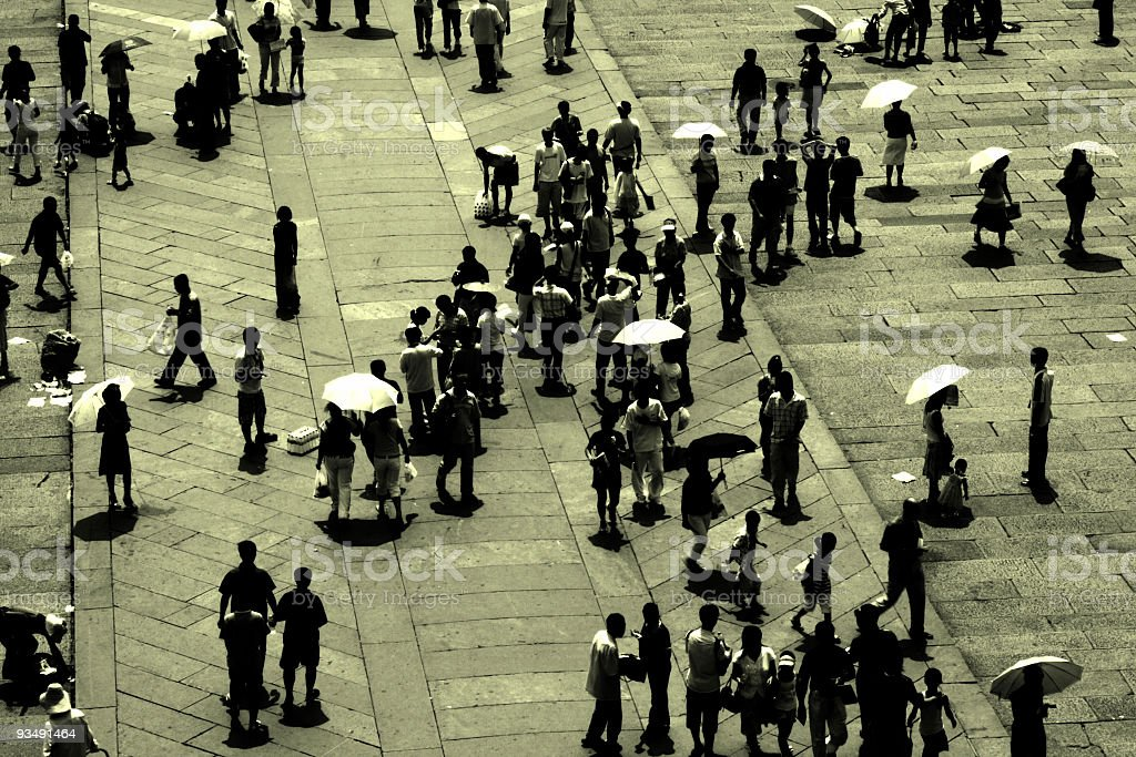 Crowd Sillhouette in Beijing Summer royalty-free stock photo